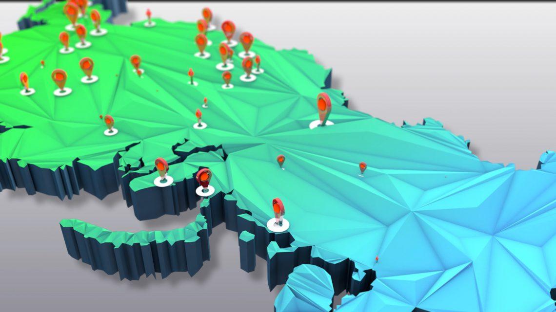Лоуполи 3D карта России - динамическая инфографика 3d, создание анимационных видеороликов, анимационные ролики, графический рекламный ролик